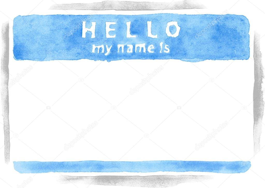 Name tag sticker hello my name is on white background empty blank blue badge painted
