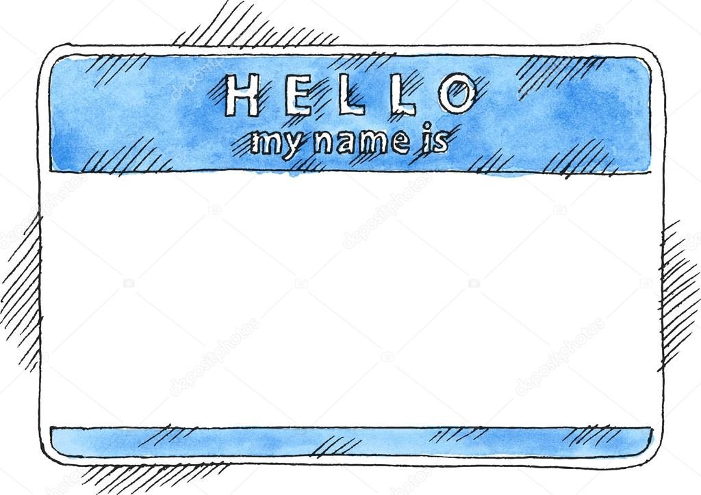 Blue name tag sticker hello my name is on white background blank badge painted handmade draw ink sketch and watercolor technique