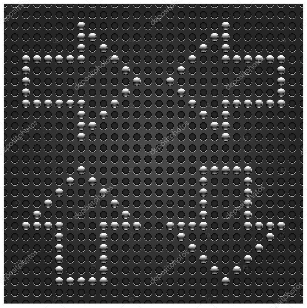 4 cromo metal botón signos de patrones sin fisuras. punto negro ...