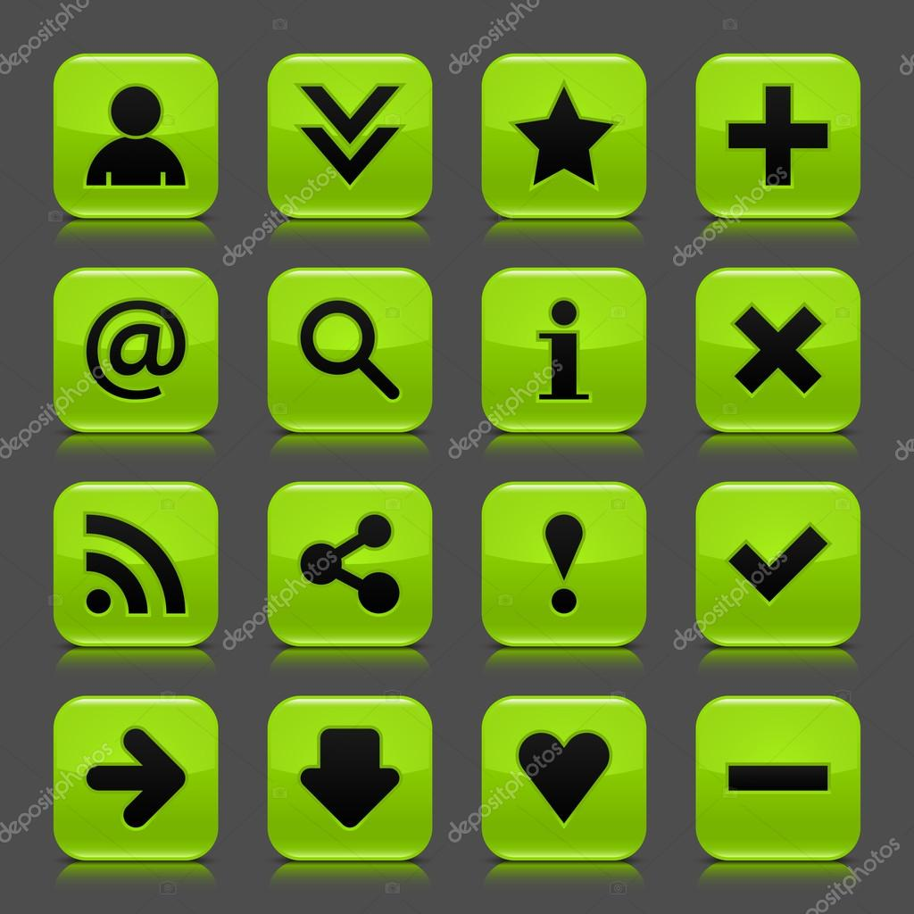 16 green icon with basic web black sign. Glossy rounded square shape ...