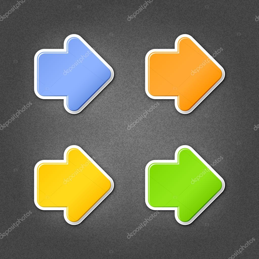 4 colored arrow sign stickers web icon. Smooth green, orange, yellow, blue internet button with drop shadow on gray background with noise effect. This vector illustration design element saved 10 eps
