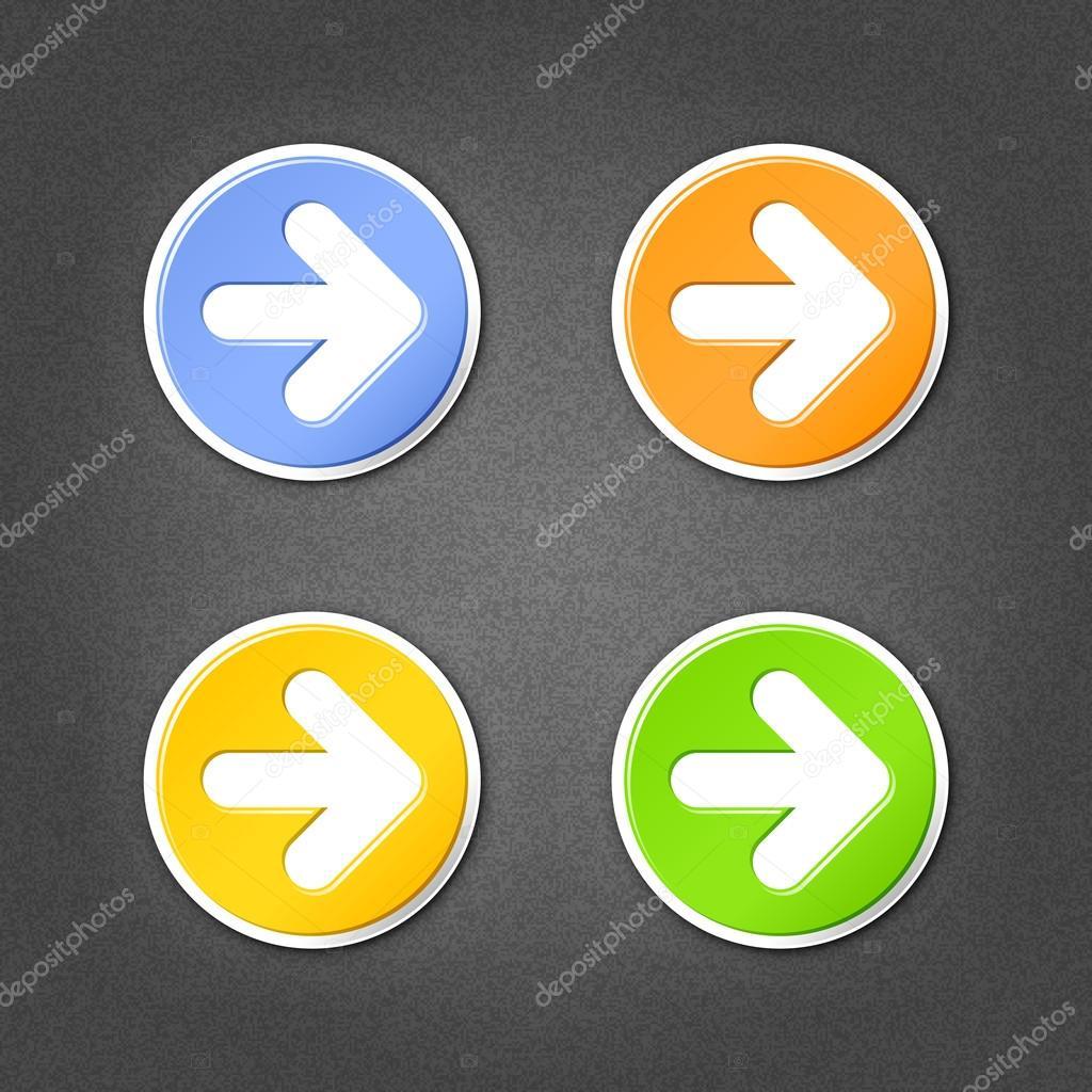 4 signe de flèche couleur cercle autocollants. lisse, vert, orange ...