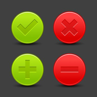 Check mark, delete, plus and minus signs on satin validation icons. Red and green web buttons with drop black shadow on gray background. Vector illustration clip-art design elements saved in 8 eps
