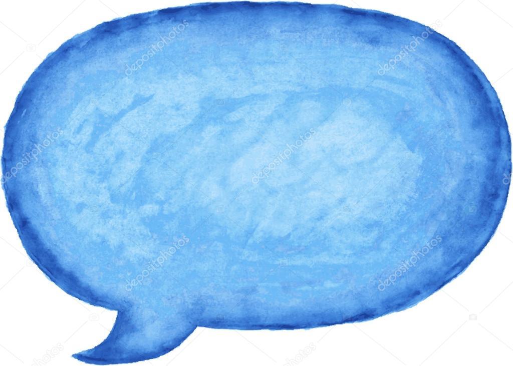 Blue watercolor blank speech bubble dialog empty oval ...