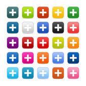 Fotografie 25 smooth satined web 2.0 button with plus sign on white background. Colorful rounded square shapes with shadow