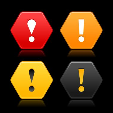 Warning attention icon web 2.0 button. Colored hexagon shape with color reflection on black background