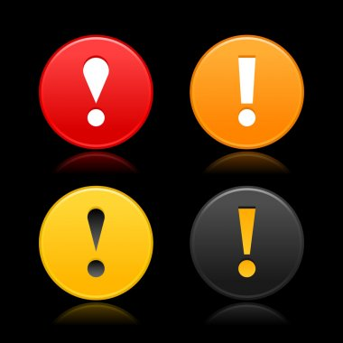 Attention sign with exclamation mark symbol. Round web 2.0 button with reflection on black.
