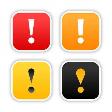 Four warning stickers rounded square shape with shadow on white background. 10 eps