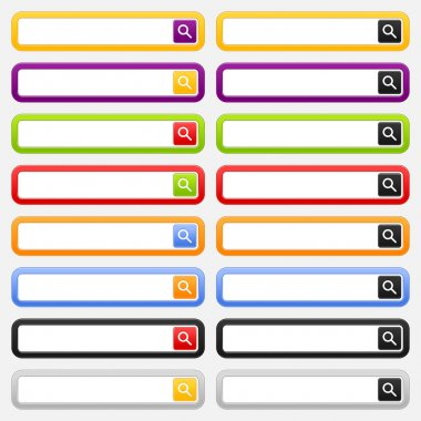 Internet search form and button with loupe sign. Colored rounded rectangle shapes on gray