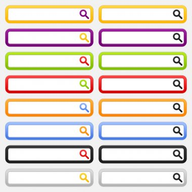 Internet web search form with magnifier icon. Variations colors rounded rectangle on gray background
