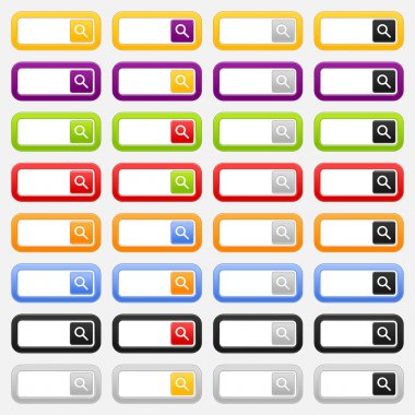 Web search forms and button with magnifier icon. Variations colored rounded rectangle on gray background