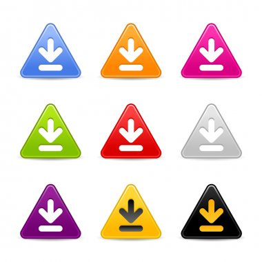 Satined download web 2.0 icon. Colored triangle buttons with shadow on white background