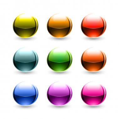 Colored glowing metallic balls with black shadow on white background
