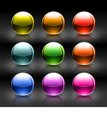 Colored glowing metallic balls with colorful reflection on black background. Vector illustration created and saved eps 10