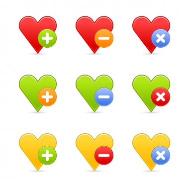 Colored heart favorite web 2.0 button with shadow. White background.