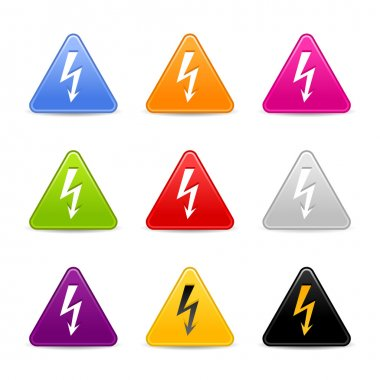 Satined web 2.0 icon with lightning sign. Colored triangle buttons with shadow on white background
