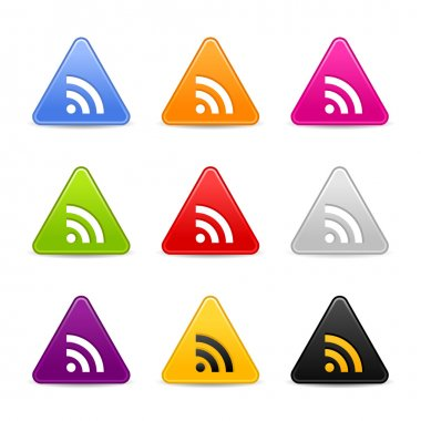 Satined smooth web 2.0 icon with RSS sign. Colored triangle buttons with gray shadow on white