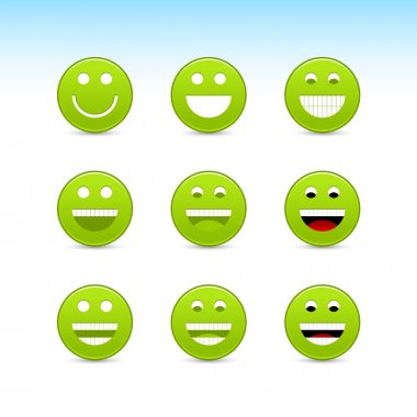 Green smiling face web 2.0 button with gray shadow on white background
