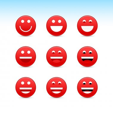 red smiling face web 2.0 button with gray shadow on white background