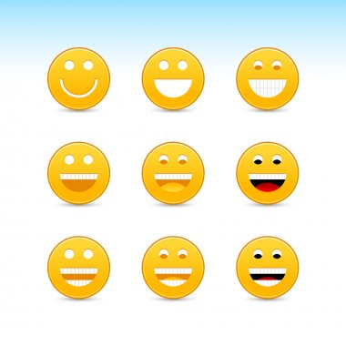 yellow smiling face web 2.0 button with gray shadow on white background