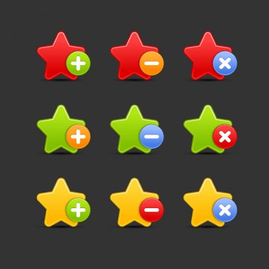 Colored star favorite icon web 2.0 button with shadow on gray.