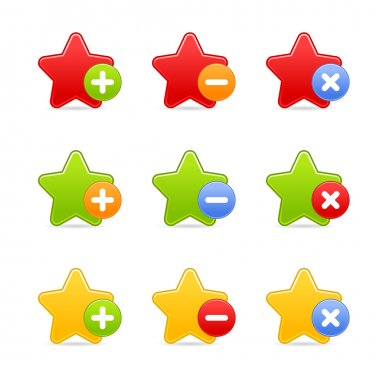 Colored star favorite web 2.0 button with shadow on white background.