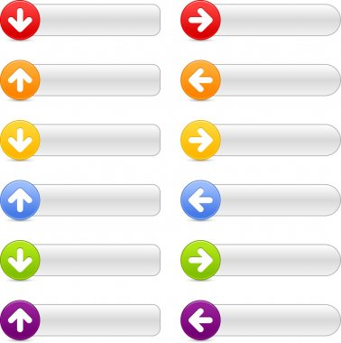 12 colored button arrow sign web 2.0 navigation panels with shadow on white
