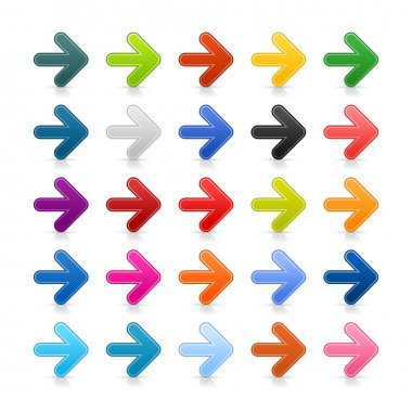 25 colored arrow web 2.0 button with shadow on white background