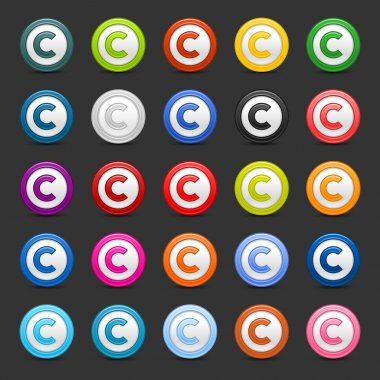 25 colored copyright icon web 2.0 button. Smooth satined round shapes with shadow on gray background