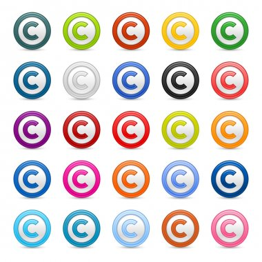Colored matted round buttons with copyright symbol on white