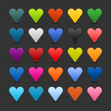 25 colored heart icon web 2.0 buttons with shadow and reflection on black background