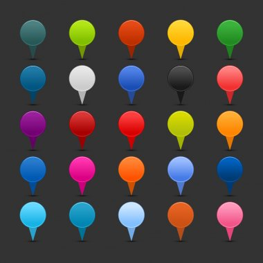 25 mapping pins icon web 2.0 buttons. Colored satined round shapes with shadow on gray