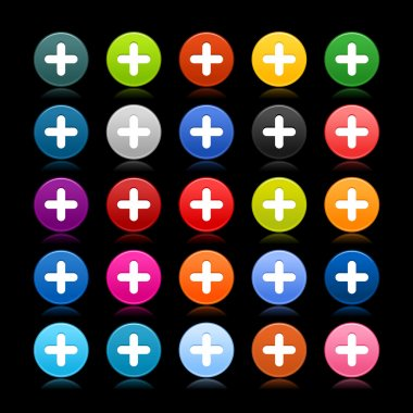 25 satined web 2.0 button with plus sign. Colored round shape with reflection on black background