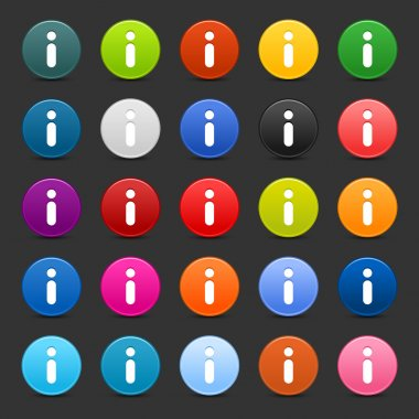25 satined web 2.0 button with info icon. Colorful round shapes with shadow on gray background