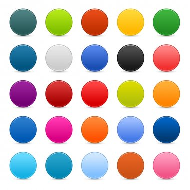 Matted color round web buttons on white background