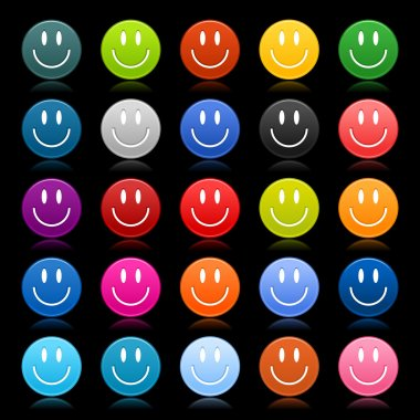 Matted colored smiley faces on black background