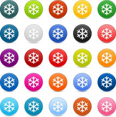 25 color satin button with snowflake sign. Round shape with gray drop shadow on white background