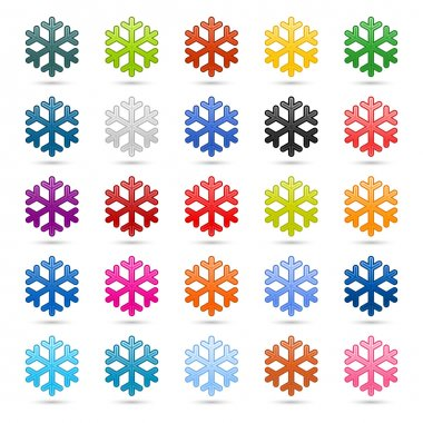 Colored satin smooth snowflake with drop gray shadow on white background