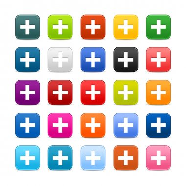 25 smooth satined web 2.0 button with plus sign on white background. Colorful rounded square shapes with shadow