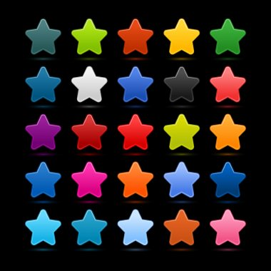 25 star sign glossy web button. Blank color rounded shape with black drop shadow on black background with noise effect. This design element vector illustration saved 10 eps