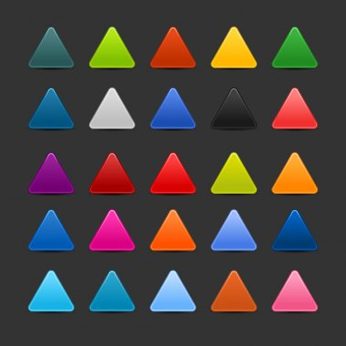 25 colored blank triangle web 2.0 button. Smooth satined shapes with shadow on gray background