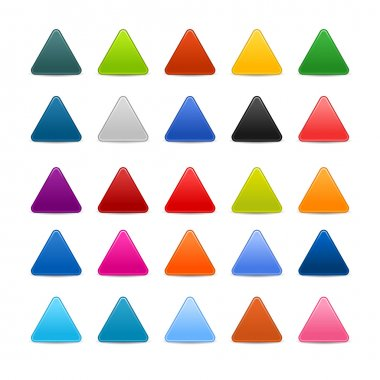 25 colored blank triangle web 2.0 button. Smooth satined shapes with shadow on white background