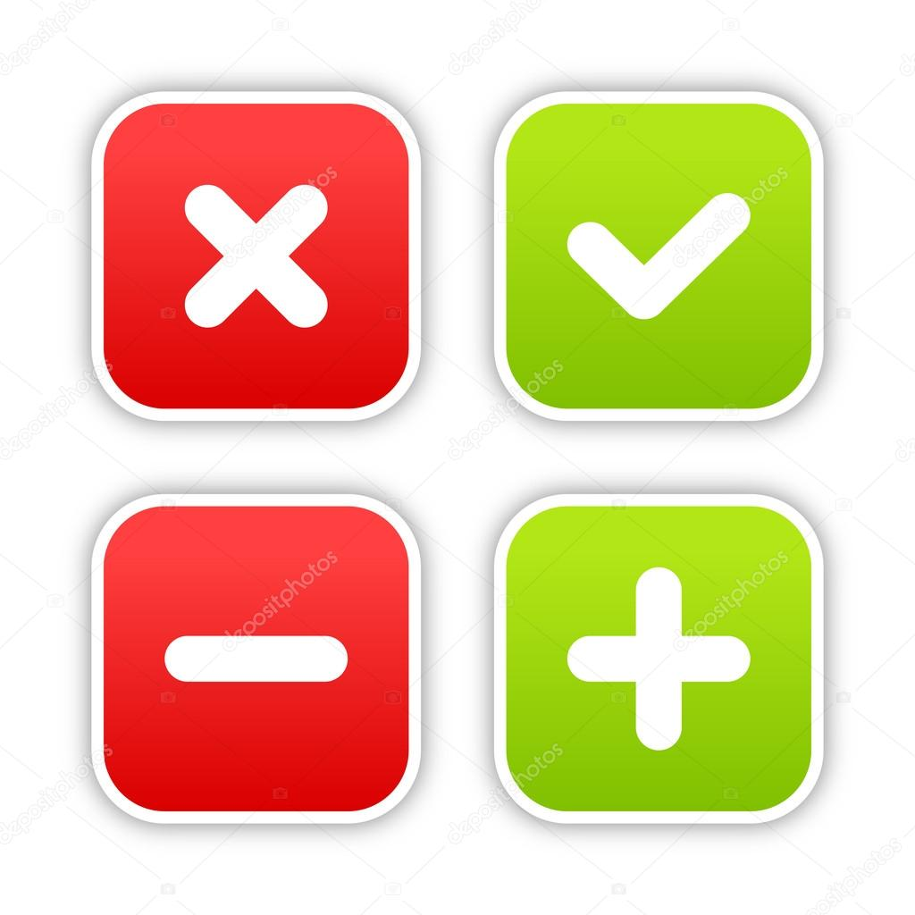 4 web 20 buttons of validation icons colored smooth shapes with 4 web 20 buttons of validation icons colored smooth shapes with shadow on white sciox Gallery