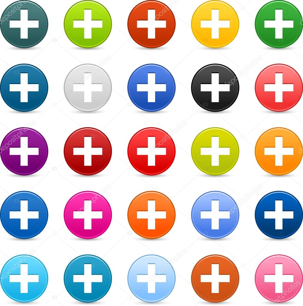 25 satined web 2.0 button with plus sign. Colorful round shapes with shadow on white background