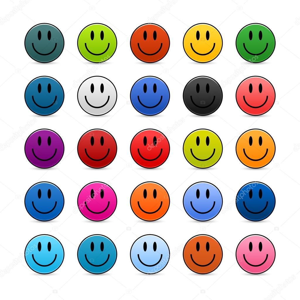 Boutons de web de smiley de couleur noir sur blanc image - Smiley en noir et blanc ...