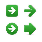 Satin green arrow sign web 2.0 buttons with shadow on white background