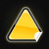 Matrica fényes üres sárga figyelmeztető jel a hajlított sarok fekete csíkos háttér