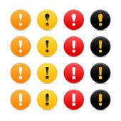Fényképek 16 színes kerek figyelmeztető jel web 2.0 gomb felkiáltójellel