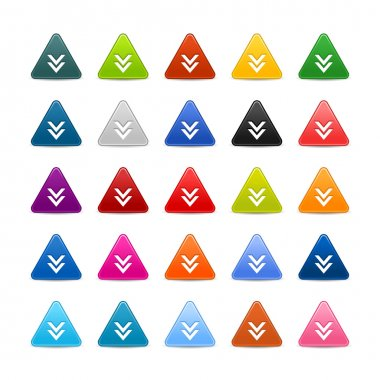 25 triangular web buttons with download sign. Colored satin smooth icon with shadow on white