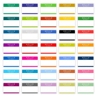 35 colored badge name tag HELLO my name is. Blank sticker with shadow on wnite background